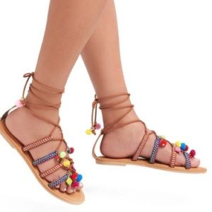 Mossimo | Pom Pom embroidered gladiator sandals